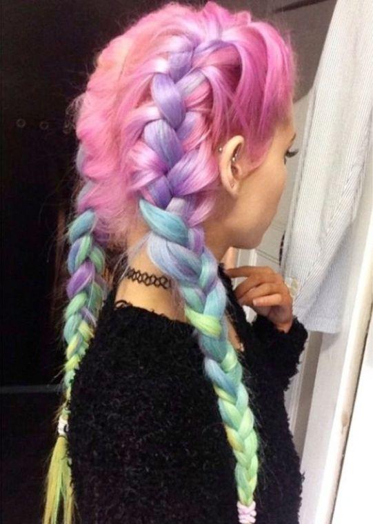 cabelo unicornio trança